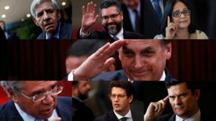 Seis de los 22 ministros nombrados por el presidente entrante Jair Bolsonaro (centro) en los últimos meses. Arriba, de izquierda a derecha: Augusto Heleno, Ernesto Araujo y Damares Alves. Abajo, de izquierda a derecha: Paulo Guedes, Ricardo Salles y Sergio Moro.