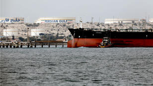 Un pétrolier iranien sur l'île de Khark dans le golfe Persique, en mars2017.