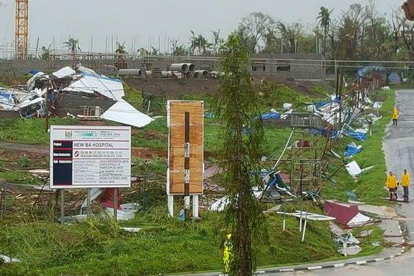 Le site du nouvel hôpital de Ba (sur l'île Viti Levu) a été ravagé par le passage du cyclone Winston.