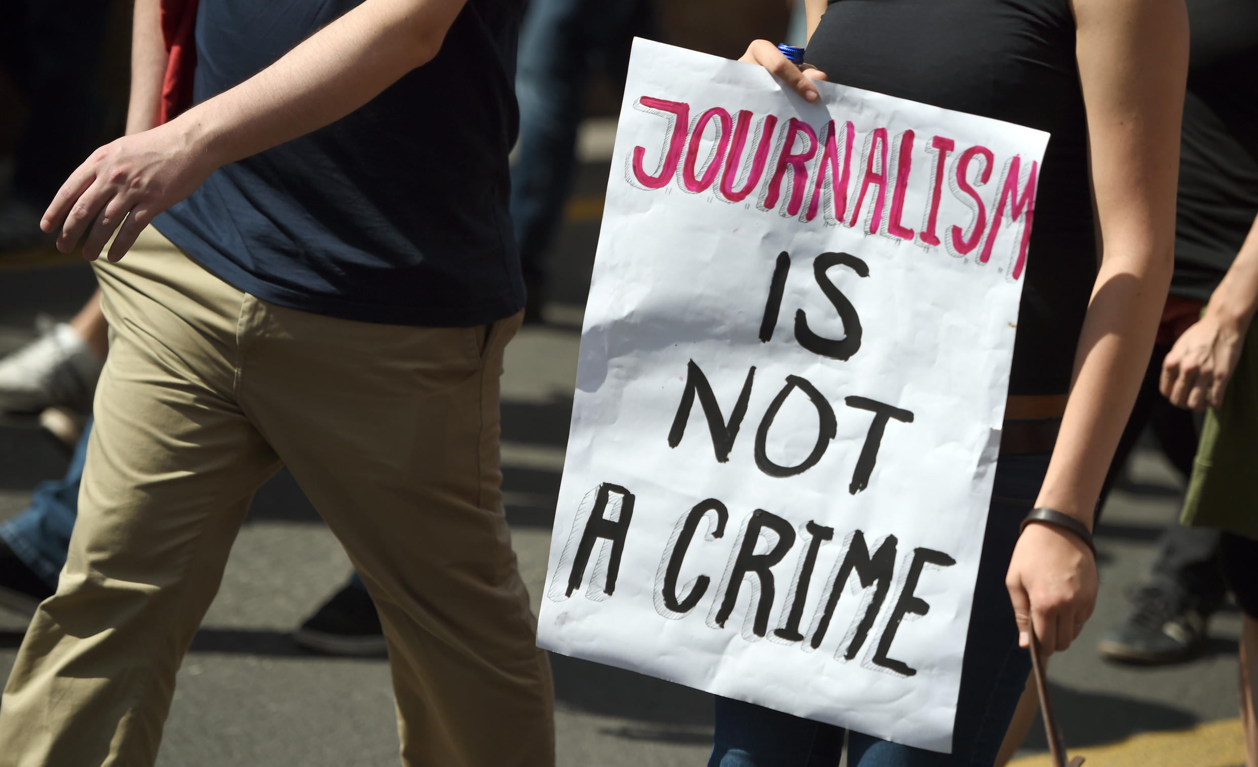 Protestors demonstrate in support of freedom of press on August 1, 2015, in Berlin in response to treason probe against writers of the news blog Netzpolitik