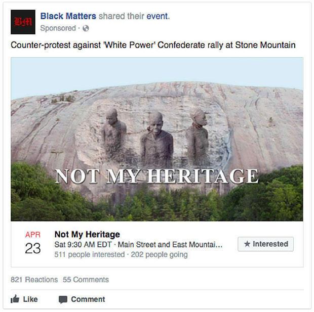 """Appel à une contre-manifestation contre le """"rassemblement 'White Power' à Stone Mountain"""""""