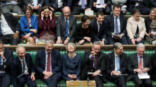 La primera ministra británica, Theresa May, durante el debate sobre el aplazamiento del Brexit en el Parlamento. Londres, Reino Unido, 14 de marzo de 2019.