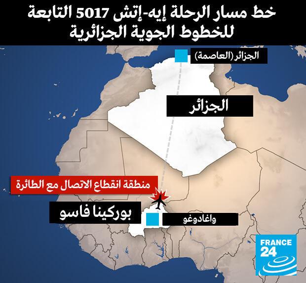 مسار طائرة الخطوط الجوية الجزائرية المفقودة في مالي