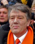 He headed the orange coalition in 2004 and was elected president in 2005. In 2004 during the Orange Revolution, he suffered a violent dioxin poisoning, and his face has kept the scars of what was widely interpreted as an assassination attempt.
