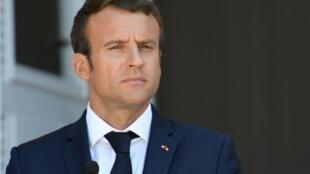 الرئيس الفرنسي إيمانويل ماكرون في لقاء صحافي إثر اجتماعه برئيس الوزراء ورئيس بلغاريا في فارنا 25 آب/أغسطس