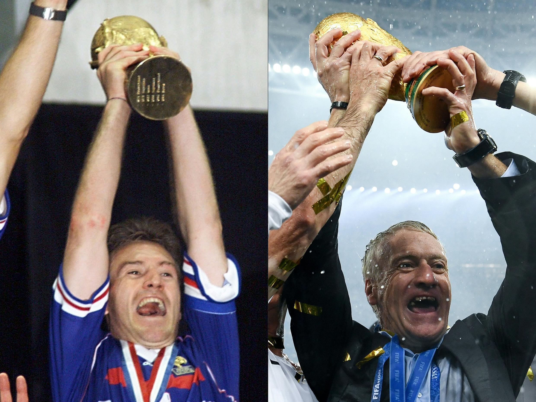 15 Temmuz 2018'de oluşturulan bu fotoğraf kombinasyonu, Fransız oyuncu Didier Deschamps'ın (sol), Fransa'nın 12 Temmuz 1998'de Paris yakınlarındaki Saint-Denis'teki Stade de France'da Dünya Kupası'nı kazanmasının ardından Dünya Kupası kupasını salladığını ve Fransa'nın teknik direktörü Didier'i gösteriyor. Deschamps, 15 Temmuz 2018'de Moskova'daki Luzhniki Stadyumu'nda Fransa ve Hırvatistan arasındaki Rusya 2018 Dünya Kupası final maçından sonra Dünya Kupası kupasıyla kutluyor.