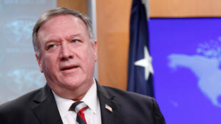 US Secretary of State Mike Pompeo  during a news conference at the State Department in Washington, on March 17, 2020.