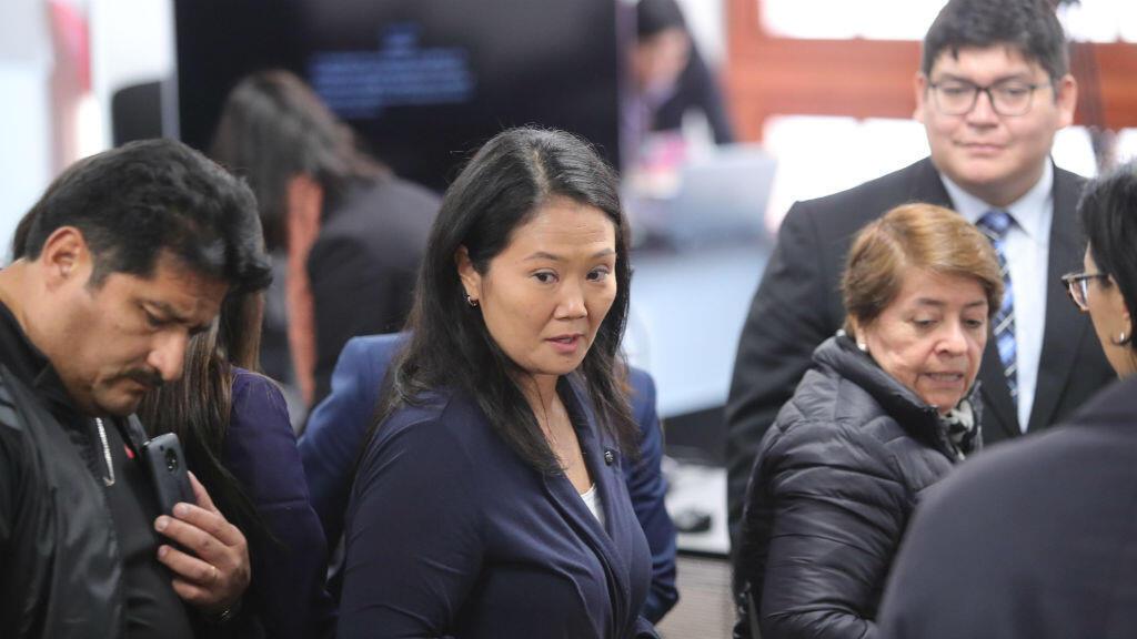 Keiko Fujimori el 21 de octubre de 2018 tras la suspensión por parte de un juez de la audiencia judicial en la que la autoridad decidiría si sería sometida a prisión preventiva por el delito de lavado de activos.