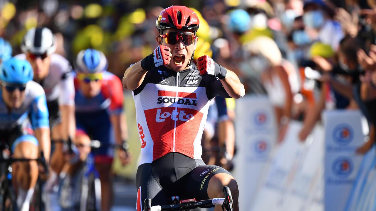 Caleb Ewan, ciclista de Lotto Soudal, celebra su triunfo en la etapa 3 del Tour de Francia, el 31 de agosto de 2020.