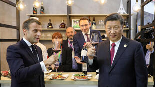 Macron Xi Jinping wine Shanghai international expo