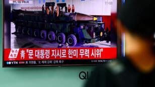 Le 4 juillet, la Corée du Nord a affirmé avoir réussi un tir de missile balistique intercontinental. Ici, les images de la télévision sud-coréenne.