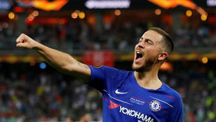 Hazard celebra su cuarto gol con Chelsea en el Estadio Olímpico de Bakú, en Azerbaiyán, el 29 de mayo de 2019