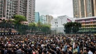 مظاهرة حاشدة في حي مونغكوك بهونغ كونغ السبت 3 أغسطس/آب 2019