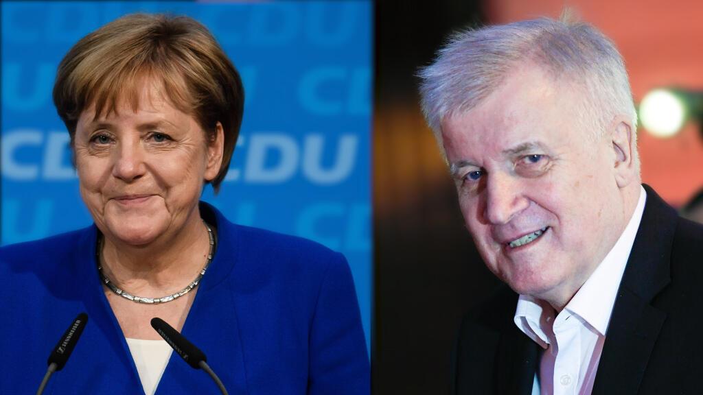 Angela Merkel y Horst Seehofer al término de una reunión en la que llegaron a un acuerdo sobre inmigración. 2 de julio de 2018.
