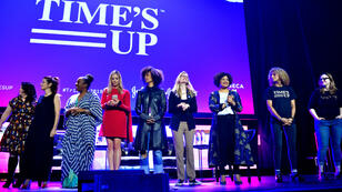 """Un événement est organisé par le collectif """"Time's Up"""" durant le festival du film de Tribeca, à New York, le 28 avril 2018."""