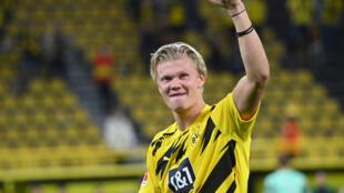L'attaquant norvégien du Borussia Dortmund Erling Haaland lors d'un match contre Mönchengladbach, le 19 septembre 2020 à Dortmund