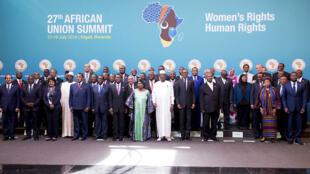 Les chefs d'État africains réunis au 27e sommet de l'Union africaine (UA) à Kigali.