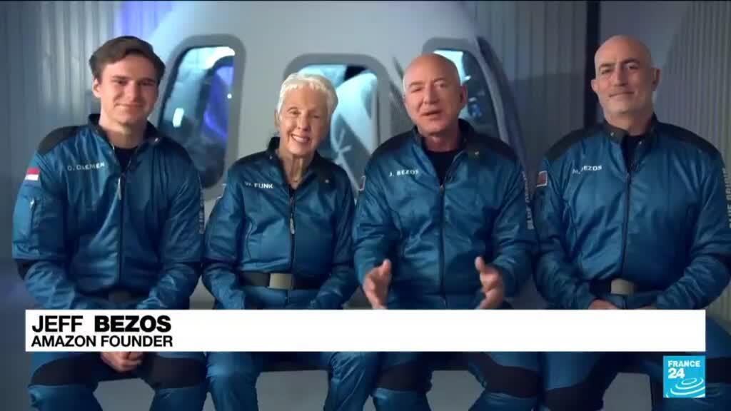 2021-07-20 08:13 Bezos and crewmates prepare for inaugural Blue Origin space flight