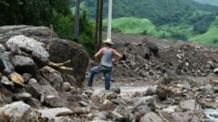 أضرار بسبب العاصفة نايت قرب غواسكوران في مقاطعة فاله في هندوراس الجمعة 6 تشرين الأول/أكتوبر 2017