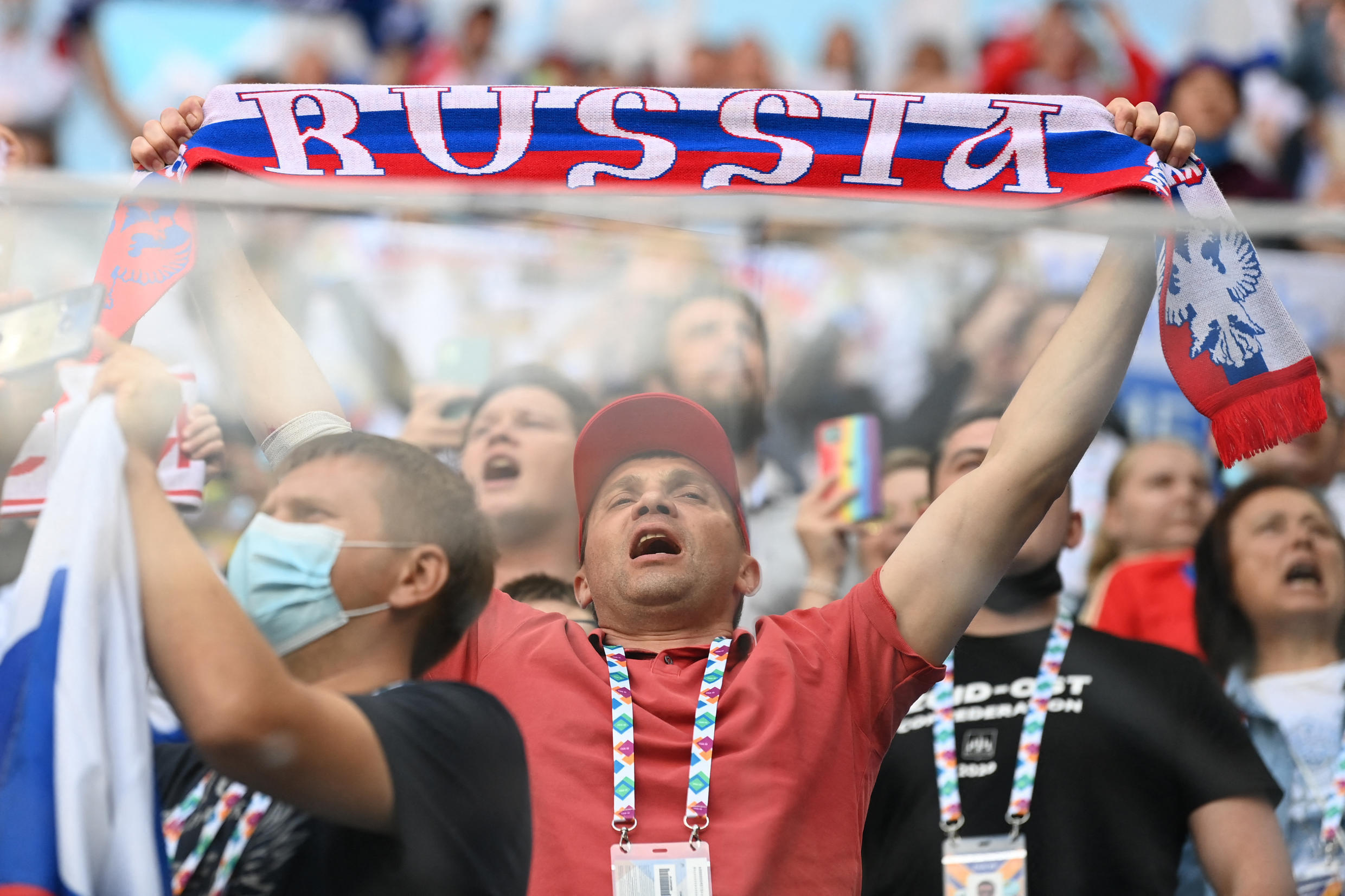 Russia fans attend a match between Finland and Russia in Saint Petersburg on June 16, 2021.