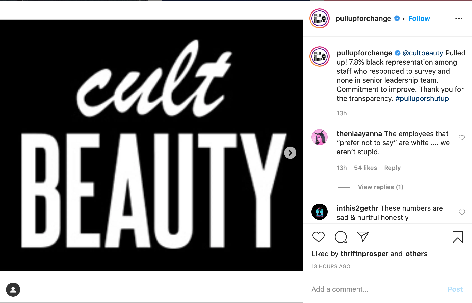 Sharon Chuter, the founder of Uoma Beauty, posted Cult Beauty's response to her #pulluporshutup campaign on Instagram.