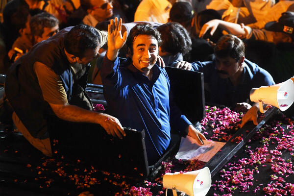 Bilawal Bhutto of the PPP (Pakistan People's Party) at a Karachi campaign rally. (Photo: Arif Hassan, AFP)