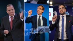 (De g. à d.) Le Premier ministre sortant Stefan Löfven, le dirigeant conservateur Ulf Kristersson et le leader des nationalistes, Jimmie Åkesson.