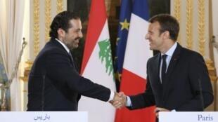 El dimitido primer ministro de Líbano Saad Hariri y el presidente francés Emmanuel Macron en el Palacio del Elíseo el pasado 1 de septiembre.