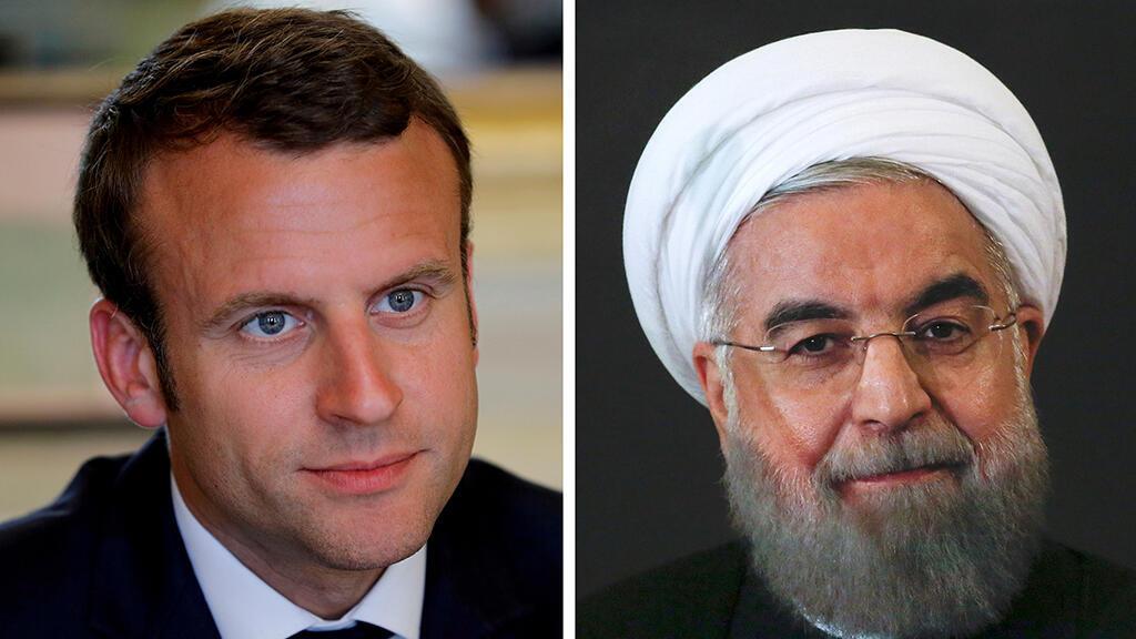 Foto de archivo del presidente francés, Emmanuel Macron; y su homólogo iraní, Hasan Rohani.