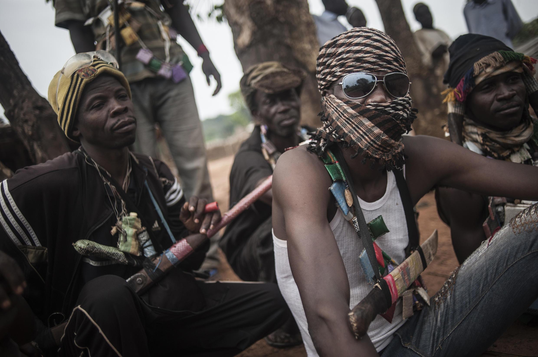 Anti-Balaka militia members on the outskirts of Bambari in July 2014.