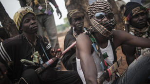 Anti-Balaka militia members on the outskirts of Bambari in July 2014.