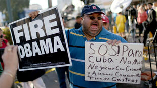 Cuban-Americans protest in Miami on Wednesday.