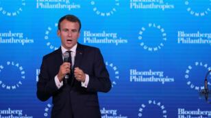 """Emmanuel Macron au """"One Planet Summit"""" à New York, le 26 septembre."""