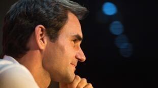 Le joueur suisse de tennis Roger Federer en conférence de presse le 5 février 2020 au Cap en Afrique du Sud