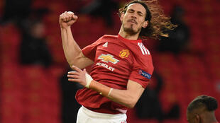 Edinson Cavani celebrates after scoring for Manchester United against Granada in the Europa League