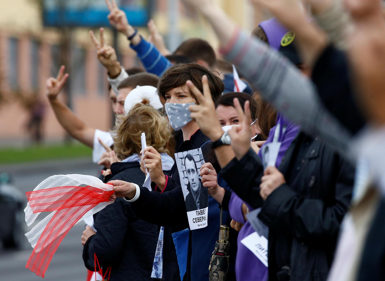 Une manifestation contre le résultats des élections en Biélorussie, à Minsk, le 27 août 2020.