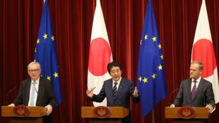 Japón y la Unión Europea sentaron las bases para la confromación de una amplia zona de libre comercio. Julio 17 de 2018