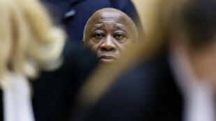 L'ex-président ivoirien Laurent Gbagbo, lors de l'audience de confirmation des charges devant la CPI, le 19 février 2013.