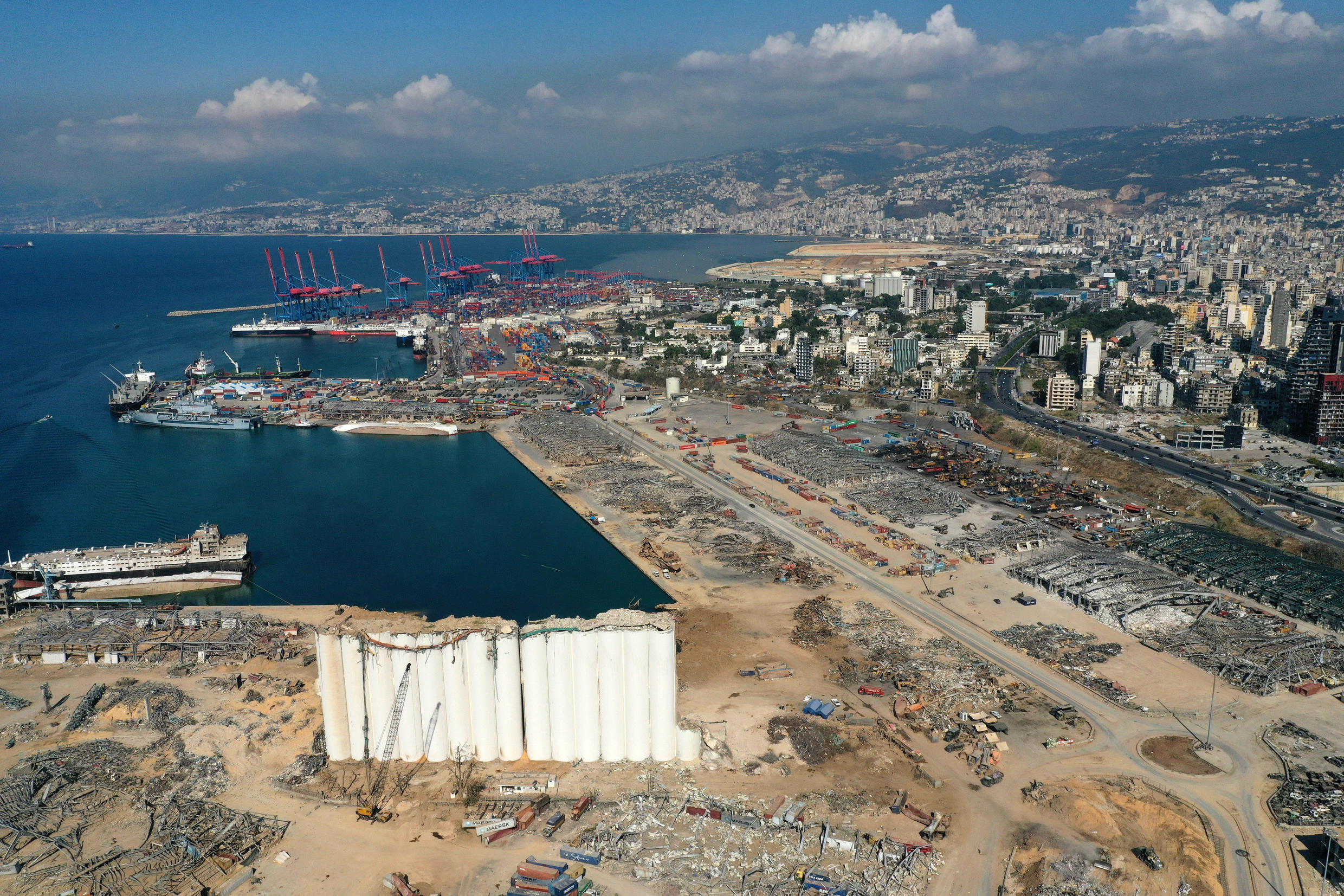 Aerial view taken Aug. 26, 2020, shows the damaged Beirut port.