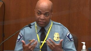 Minneapolis Police Chief Medaria Arradondo answers questions on the sixth day of the trial of former Minneapolis police officer Derek Chauvin for second-degree murder, third-degree murder and second-degree manslaughter in the death of George Floyd in Minneapolis, Minnesota, U.S. April 5, 2021 in a still image from video.