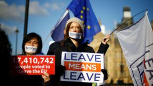 Ciudadanos británicos se manifiestan a favor del Brexit a la salida del Parlamento. Londres, 11 de diciembre de 2018.