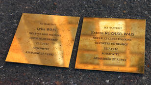 Deux pavés de la mémoire posés dans la ville de Fontenay-sous-Bois.