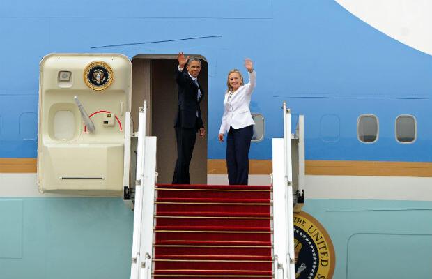 Secretary of State Hillary Clinton and President Barack Obama leave Myanmar in November 2012