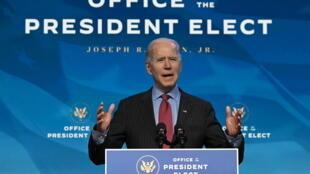 Joe Biden lors d'une conférence de presse à Wilmington, dans le Delaware, le 8 janvier 2021