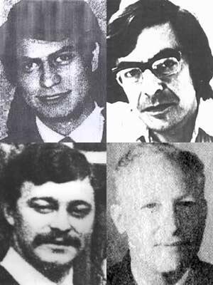 Clockwise from top left: Alfonso Chanfreau, Jean-Yves Claudet, Etienne Pesle and Georges Klein. Four French victims of the Chilean dictatorship, detained and disappeared between September 11, 1973 and October 1975.