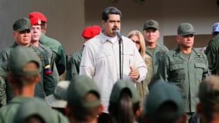 Le président Nicolas Maduro lors d'un discours devant l'armée dans l'État de Carabobo, le 21 mai 2019.
