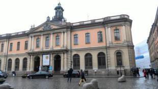 Una vista general del antiguo Stock Exchange Building, sede de la Academia Sueca, en Estocolmo.