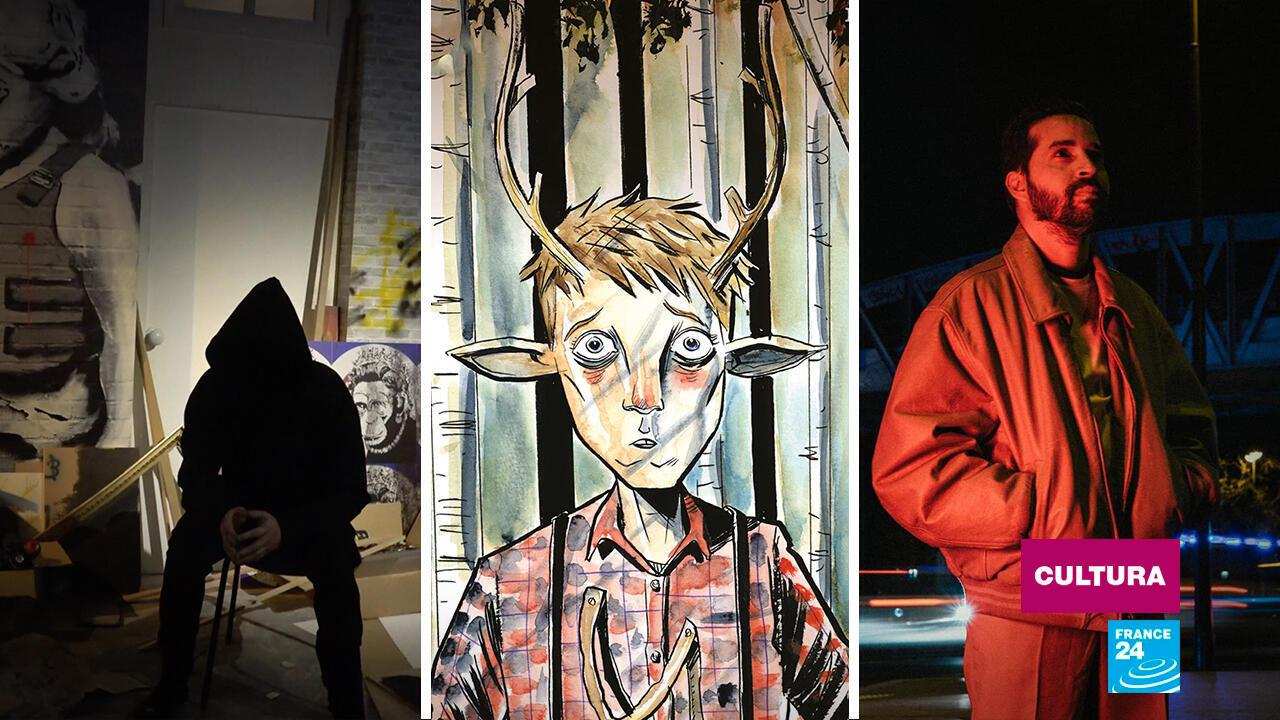 Recreación del anonimato de Banksy, retrato del personaje del cómic 'Sweet Tooth' y fotografía del cantautor Jean-Paul Tamayo aka Caleño.