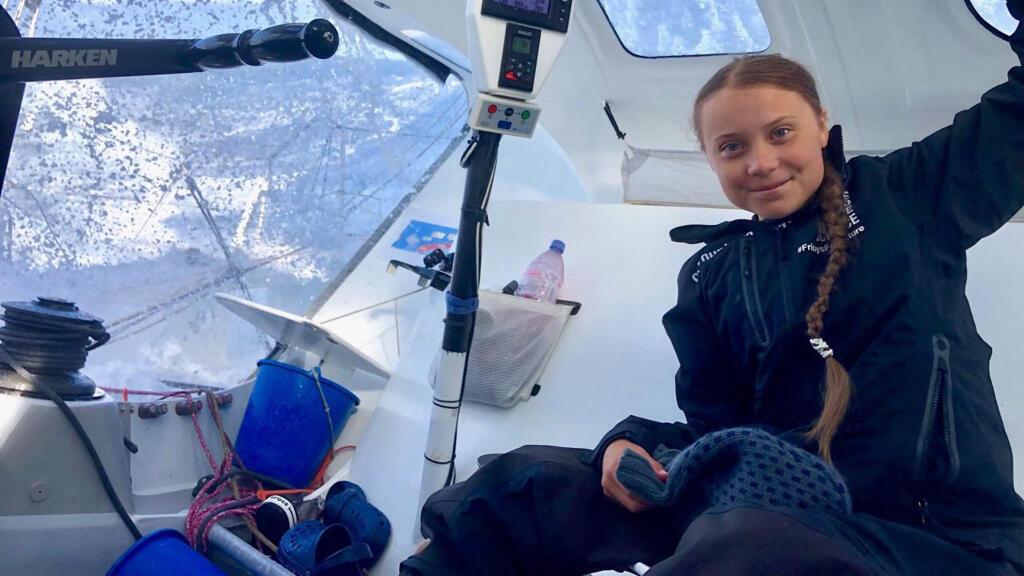 Greta Thunberg a bordo del barco de regata Malizia II en el Océano Atlántico, 24 de agosto de 2019. En su Twitter, publicó: 'Día 11. Condiciones muy difíciles y húmedas, al sur de Terranova.'