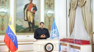 Archivo-El presidente Nicolás Maduro participa de manera virtual en la Asamblea 75 de la Organización de Naciones Unidas, desde Caracas, Venezuela, el 23 de septiembre de 2020.